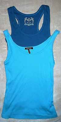 Lot Of 2 Women's Surf Tank Top Small S Cotton Blue New