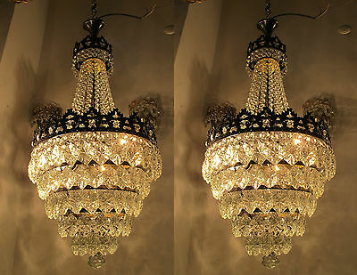A Pair of Vnt French Real Bohemia Crystal Chandelier Lamp 1940s 14in diametr