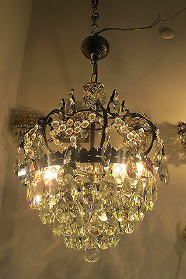 Antique Vnt French HUGE Basket /Cage Crystal Chandelier Lamp 1940's 15in dmtr**-