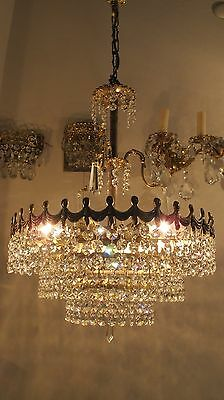 "Mid Century Austrian VNT Basket Style Crystal Chandelier 1960s 14""in damt rare"