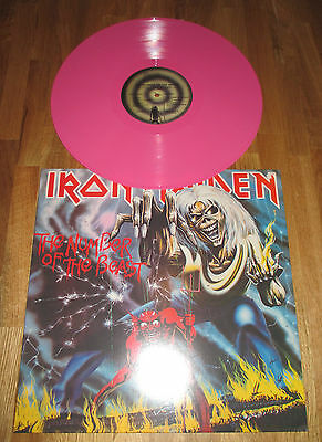 Iron Maiden Ultra Rare Pink Vinyl The Number Of The Beast LP RE-Issue UK