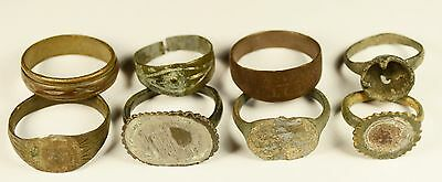 Rare Lot Of 8 Roman / Medieval Bronze Rings - Great Artifact