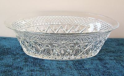 """CAPE COD OVAL CENTER PIECE BOWL IMPERIAL GLASS 3.5"""" DEEP CLEAR 11 1/4"""" x 7 5/8"""""""