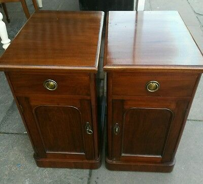 antique mahogany bedside  cabinets  1860s
