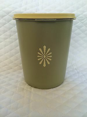 Vintage Tupperware Avocado Green and Yellow Canister  #809-5