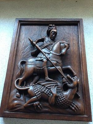 St George Slaying The Dragon Dramatic Wood Carving 29cm X 39cm