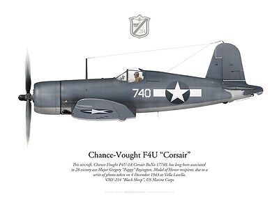 "Print F4U Corsair, Maj. ""Pappy"" Boyington, VMF-214 ""Black Sheep"" (by P. Mehard)"
