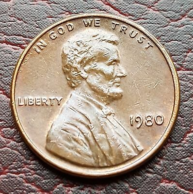 (4T) United States 1980 Lincoln Memorial Cent coin