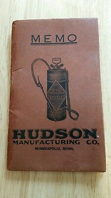 Vintage Hudson Manufacturing Co MEMO PAD Hudson Perfection Sprayer Mpls MN