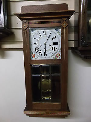 Vintage Wooden Junghans Westminster Chiming Wall Clock with Leaded Glass
