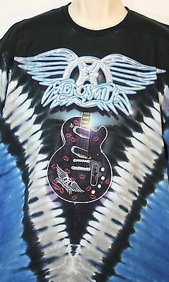 AEROSMITH Tie-Dye T-Shirt Size X-Large Winged Logo & Lips Guitar