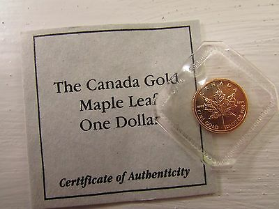 Gold Gold Gold Canadian Maple 1/20 Ounce Mint Sealed With Cert