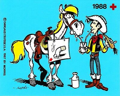 Set met 5 stickers van Lucky Luke (1988)