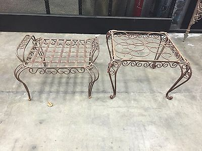 PR VTG Wrought Iron Scroll Design Patio Lounge End Table Ottoman INDOOR/OUTDOOR