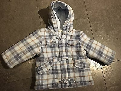 Boys Blue Checked Coat Size 9-12 Months From BHS