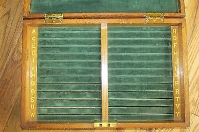 Interesting Antique/ Vintage Box Alphabetical Green Baise Slits.