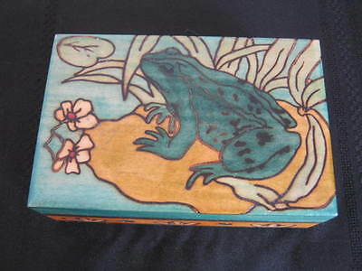 Vintage Wood Box, Frog on Lilly Pad, Enchanted World of Boxes, Art Nouveau