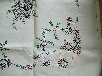 Vintage Embroidered Linen/Cotton Table Cover