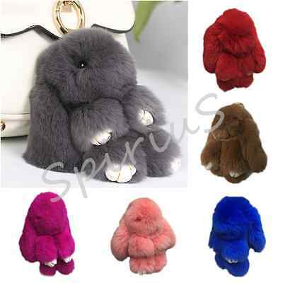Real Rabbit Fur Fluffy Bunny Keychain Pompom Ball Bag Charm Car Keyring UK Stock