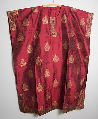 "LOVELY INDIAN BURGUNDY FAUX SILK ACETATE KAFTAN  40"" Chest (3284)"