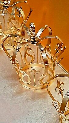 set  of 3  French style Decor  crown antique gold child size NEW. GoT