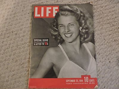 """Life Magazine September 25, 1944 WWII Special Issue """"A Letter to GI's"""" , SOLID!"""