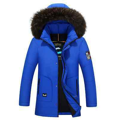 Mens Real Fur Duck Down Parka Coats Overcoats Puffer Thick Warm Military US Size