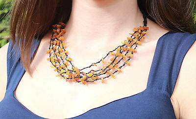 Genuine Baltic Amber Ladies necklace. Stunning Honey Color Ambers beads.