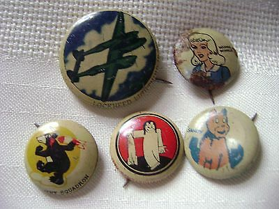 5 Different Vintage PEP Pins Wold War ll