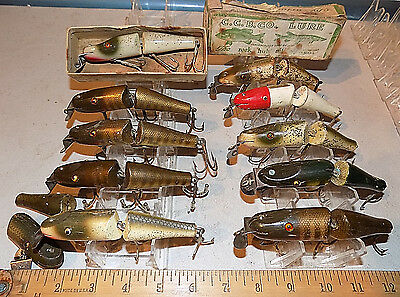 Rare Vintage Lot Of *11* Creek Chub Jointed Pikie 5500 Wood Minnow Fishing Lures