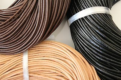 2mm Leather Necklace Cord Thong - Tan, Brown or Black - 100 metres or 1m sample