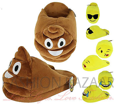 Kids Adults Emoji Emoticon POOP LOL KISS Novelty Non Slip Fun Slippers Xmas Gift