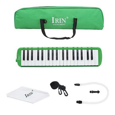Green 37 Piano Keys Melodica Pianica w/Carrying Bag For Students New V5X1