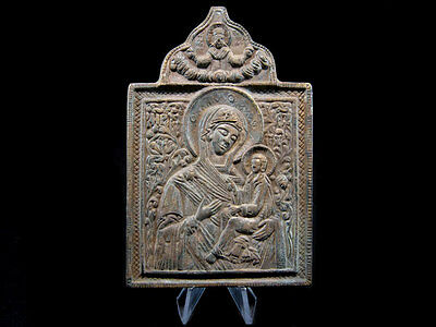 RARE POST MEDIEVAL ORTHODOX 1800s. BRONZE ICON+++VIRGIN MARY and The CHILD+++