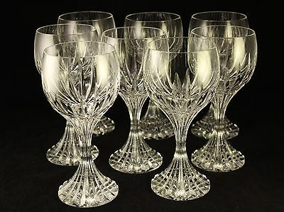"""Baccarat French Crystal Art Glass Massena Water Wine 7"""" Goblet Set Of 8 Glasses"""