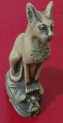 Egyptian Cat, Bastet, Goddess of love, Music, Dance & Protection,  Curved Stone • CAD $12.64