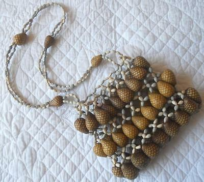 Png New Guinea Or Aboriginal ? Tribal Art Seeds Pine Cone Nuts Beads Dilly Bag