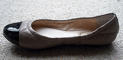 Guess Quilted Leather Ballet Flats. Beige With Black Patent Toe. Size 36
