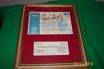 Walt Disney Co. !!! 1995 Burbank California Collectible Stock Certificate& Check