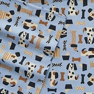 Blue Fleece Throw Blanket w/ Dachshund and other dogs