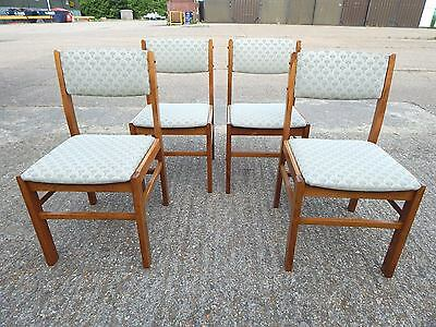 4x Radomsko solid teak dining chairs with upholstered fabric seats - mid century