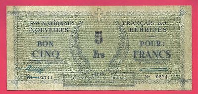 New Hebrides 1943 (ND) Emergency WWII Issue 5 Francs Note P-1