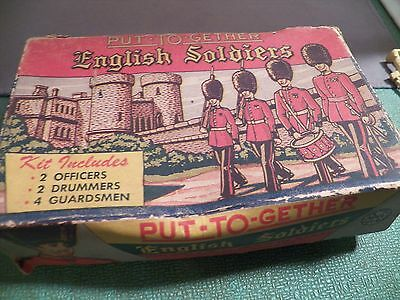Marx Put To-gether English Soldiers Six figures 3 Complete with Box