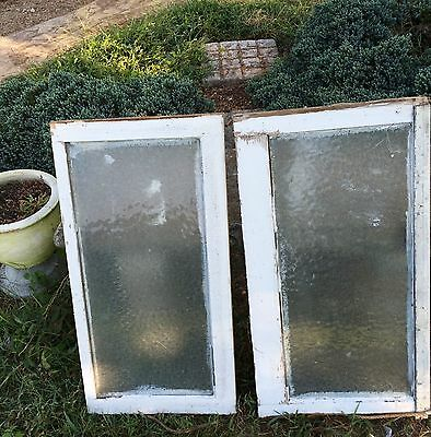 Antique Wood Windows W/ Obscure Glass From 115 Yr Old House Still Solid