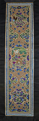 Chinese Embroidery Panel Deer Flowers Gold Thread Old or Antique