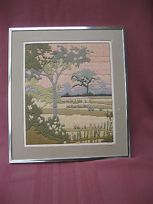 """Framed Long Stitch  """"pastel Impressions"""" In Silver Colour Metallic Frame"""