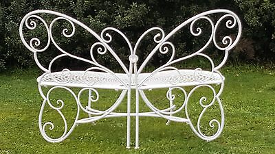 French butterfly white garden bench seater outdoor wrought iron  QUALITY