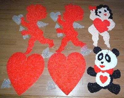 6 Vintage Melted Popcorn St. Valentine's Day Decorations Cupid Heart