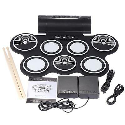 Electronic Drum Pad Digital USB MIDI Roll-up with Drumstick Foot Pedal New T7O7