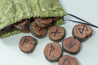Rune Set~Elder Futhark~Norse~Hand Carved Wooden~With Handmade Silk Painted Bag